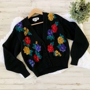 JH Collectibles Vintage Floral Wool Cardigan S